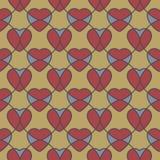 与心脏的抽象几何无缝的样式 免版税库存照片