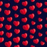 与心脏的无缝的时髦的红色样式 向量 库存照片
