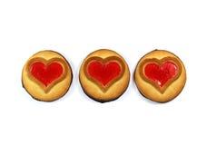 与心脏的曲奇饼,爱,华伦泰` s天的标志 库存图片