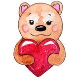与心脏的水彩熊为情人节 库存例证