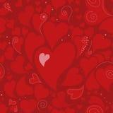 与心脏的浪漫无缝的样式 库存图片