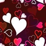 与心脏的浪漫无缝的背景 图库摄影