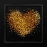与心脏的海报从砂金,五彩纸屑,闪闪发光,在黑玻璃框架,在黑背景的边界的金黄闪烁 库存图片