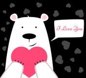 与心脏的滑稽的逗人喜爱的北极熊 华伦泰s天 免版税库存图片