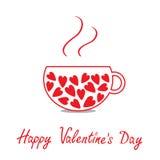 与心脏的爱茶杯。愉快的情人节卡片 库存照片