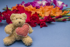 与心脏的玩具熊在五颜六色的花背景  免版税图库摄影