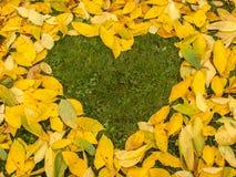 与心脏的秋叶背景 免版税图库摄影