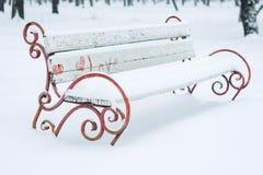 与心脏的积雪的长凳在城市公园 伪造的金属和木暴雪和树盖的公园长椅 冬天 库存图片