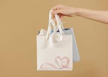 与心脏的空白两纸礼物袋子嘲笑在手中举行 em 免版税库存图片