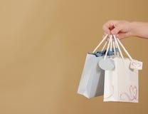 与心脏的空白两纸礼物袋子嘲笑在手中举行 em 图库摄影