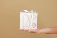 与心脏的空白的白皮书礼物袋子嘲笑在手中举行 库存照片