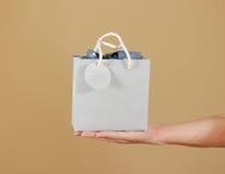与心脏的空白的蓝纸礼物袋子嘲笑在手中举行 e 库存照片