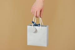 与心脏的空白的蓝纸礼物袋子嘲笑在手中举行 e 免版税库存图片