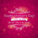 与心脏的红色母亲节贺卡和愿望发短信 免版税库存图片