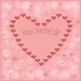 与心脏的美丽的心脏明信片在与一愉快的华伦泰` s天的题字的美好的桃红色颜色背景 向量例证