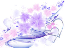 与心脏的花卉背景 免版税图库摄影