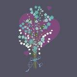 与心脏的花花束 免版税库存照片