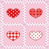 与心脏的补缀品背景在映象点艺术样式的情人节问候的 向量例证