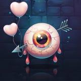 与心脏的被刺穿的眼睛在砖墙背景 免版税库存图片