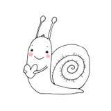 与心脏的逗人喜爱的动画片蜗牛 图库摄影