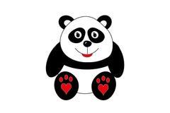 与心脏的逗人喜爱的熊猫在脚 免版税库存图片