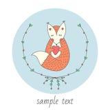 与心脏的逗人喜爱的狐狸在手上 与花的框架 贴纸,卡片,标签,明信片 也corel凹道例证向量 免版税图库摄影