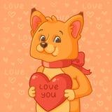 与心脏的逗人喜爱的狐狸 免版税库存照片