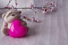 与心脏的逗人喜爱的玩具熊在白色背景 库存照片