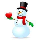 与心脏的雪人 库存照片