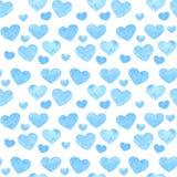 与心脏的水彩浪漫无缝的样式 也corel凹道例证向量 背景 库存照片