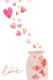 与心脏的水彩逗人喜爱的浪漫卡片 库存照片