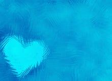 与心脏的冻结的玻璃抽象冬天纹理 免版税库存图片