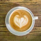 与心脏的Coffe拿铁 库存图片