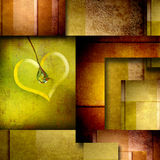 与心脏设计元素的背景在褐色和绿色 库存照片