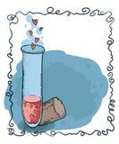 与心脏象在手中被画的样式的管测试 爱不老长寿药 免版税图库摄影