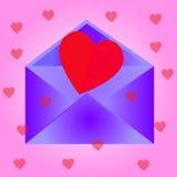 与心脏,桃红色背景的信封 库存照片