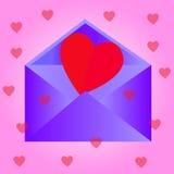 与心脏,桃红色背景的信封 图库摄影