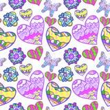 与心脏,蝴蝶的滑稽的无缝的背景 免版税图库摄影