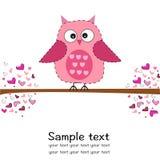 与心脏婴儿送礼会贺卡的逗人喜爱的猫头鹰 库存照片