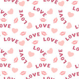 与心脏嘴唇的无缝的样式和题字在白色爱 库存图片