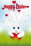 与心脏-复活节快乐的复活节兔子 免版税图库摄影