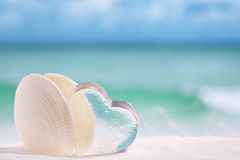 与心脏玻璃的白海壳在海滩和海蓝色backgrou 免版税库存图片