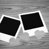 与心脏黑白颜色口气样式的照片框架 免版税库存图片