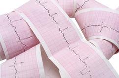与心跳脉冲的纸ECG图表 库存图片