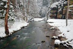 与怀特河,大岩石的冬天风景在背景中 Kamenice河,在捷克国家公园, Ceske Svycarsko,漂泊S 免版税库存图片