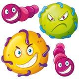 与恼怒的面孔的细菌 向量例证