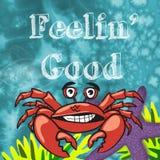 与情绪乐趣设计的海洋动物孩子的 免版税库存照片