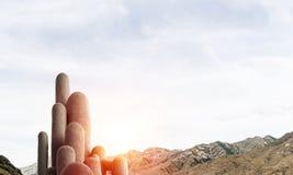 与惊人的风景的多个石专栏 免版税图库摄影