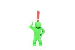 与惊叹号的小彩色塑泥木偶在头 库存照片
