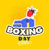 与惊奇礼物盒和拳击手套的贴纸样式在黄色 向量例证